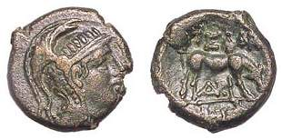 Pella, c.187 - 31 BC. AE-20. 9.32g. Crested head of