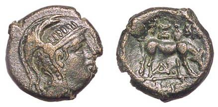 22: Pella, c.187 - 31 BC. AE-20. 9.32g. Crested head of