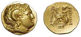 Lysimachos. 323 - 281 BC. Gold Stater of 205 - 195