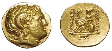24: Lysimachos. 323 - 281 BC. Gold Stater of 205 - 195