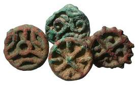 260: LATER BACTRIA, c. 1500 BC. A lot of four bronze st