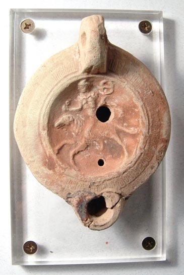 1007: Roman Discus Lamp with Horseman. Roman, Trier, c.