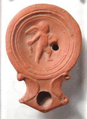 1008: Roman Discus Lamp with Cupid. Roman, Trier, c. 10