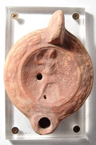 1010: Roman N. African Lamp with Warrior. North Africa,