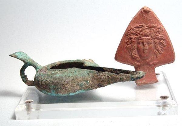 1022: Lot of 2 Oil Lamps from Roman Egypt. Roman Egypt,