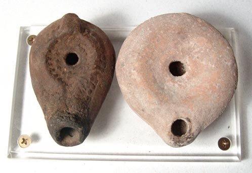1024: Lot of 2 Byzantine Oil Lamps. Byzantine Egypt, c.