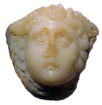 1249: Roman Chalcedony Ringstone with Gorgon. Roman, 1s