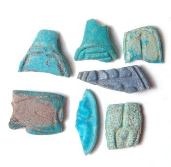 14: A lot of 7 faience ring fragments. Six of the rings