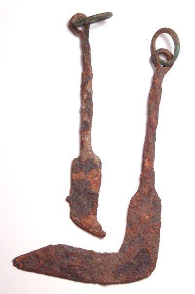 258: Pair of 2 Iron Pruning Hooks, Roman Period