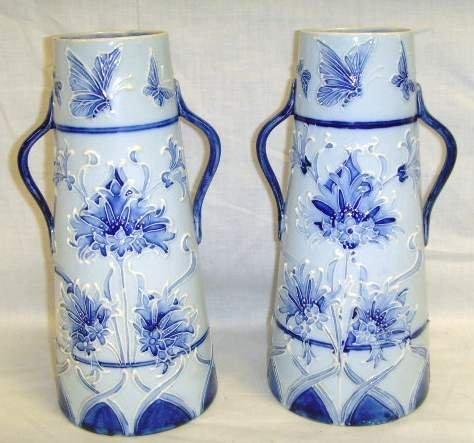 3: Pr English Florian Ware Decorated Vases