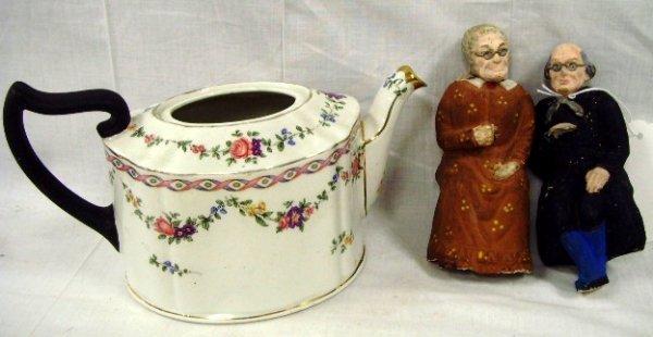 5: Early German Paper Mache Figure/English Teapot Lot