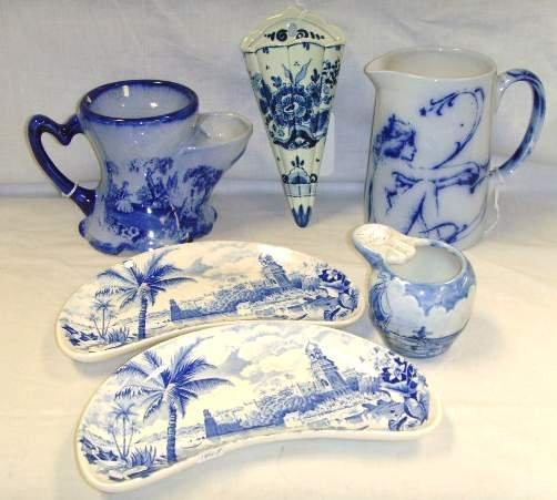 11: 6pc Blue and White China