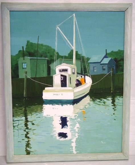 13: K. Turner Signed Acrylic on canvas Belford Mooring