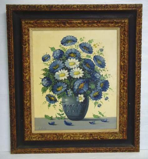 15: E. Carlos Signed Oil Painting Still Life with Flowe