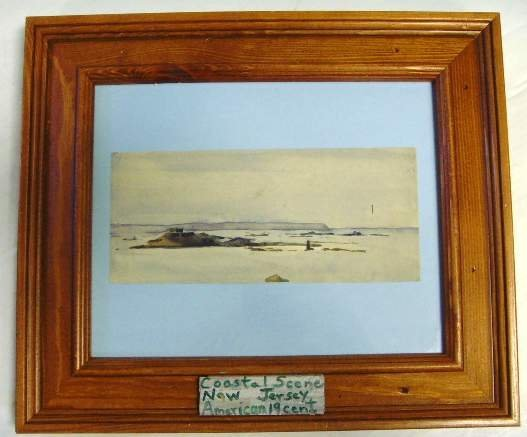 16: Unsigned Watercolor Coastal Scene