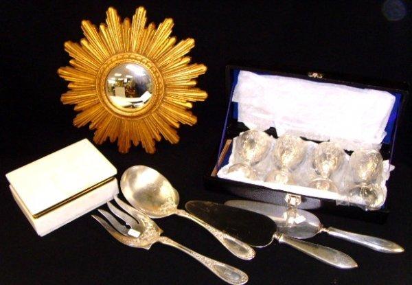 22: Silver Plate serving pc / Cordial Dresser Box Lot