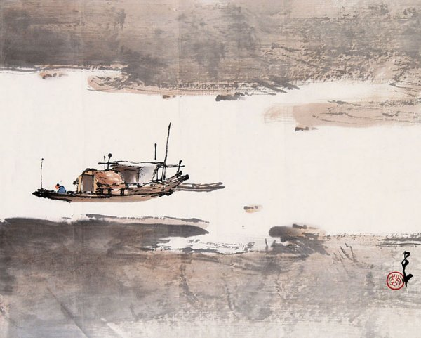 9:  Chinese painting by famous Chinese artist - Chao Sh
