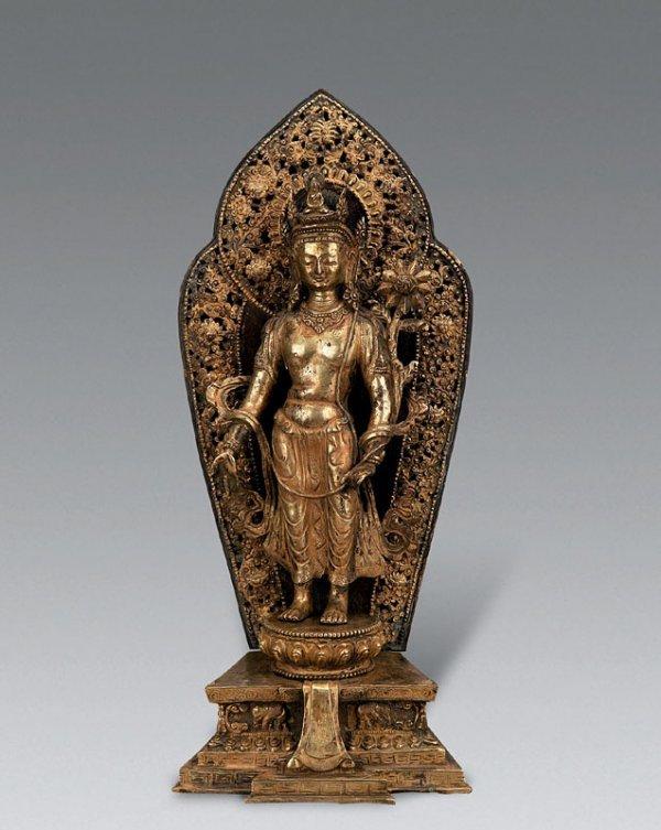 575: Gilt Bodhisattva with lotus flower in hand; H43cm;