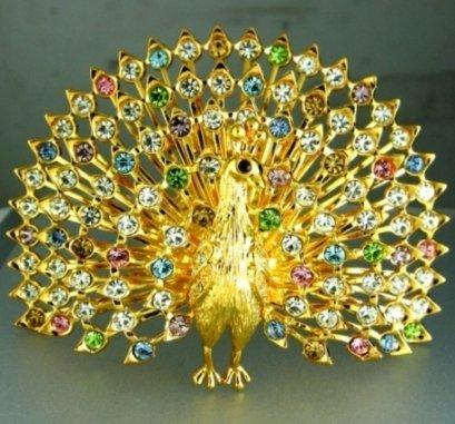 4: Multi Color Swarovski Crystals Peacock Pin Brooch
