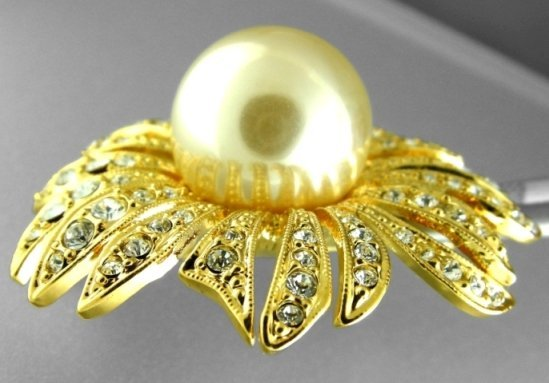 6: 48.88CTS~ FLOWERED PEARL BROOCH ~ YELLOW GOLD PLATED - 2