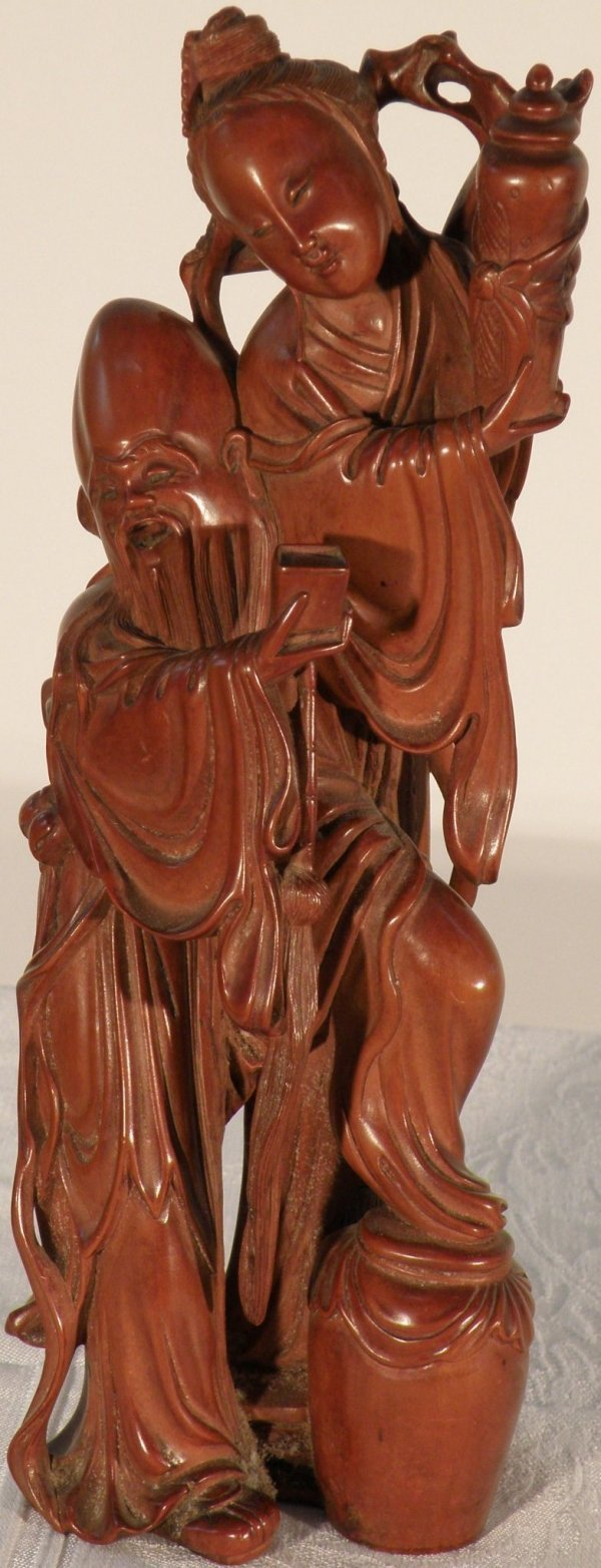 2: An imported Chinese boxwood huangyangmu figural