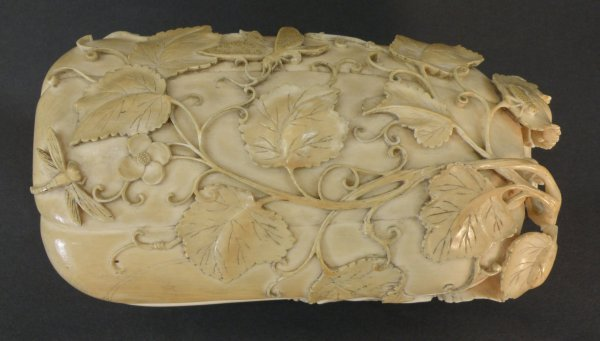 6: A Chinese ivory box and cover with a erotic motif
