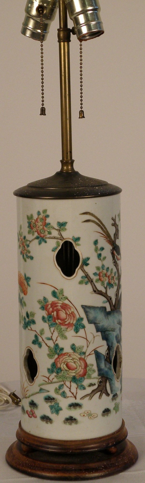 8: A Chinese famille-rose vase made as lamp
