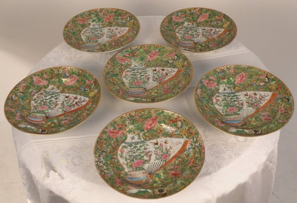 9: Chinese set of six pieces export Canton plates
