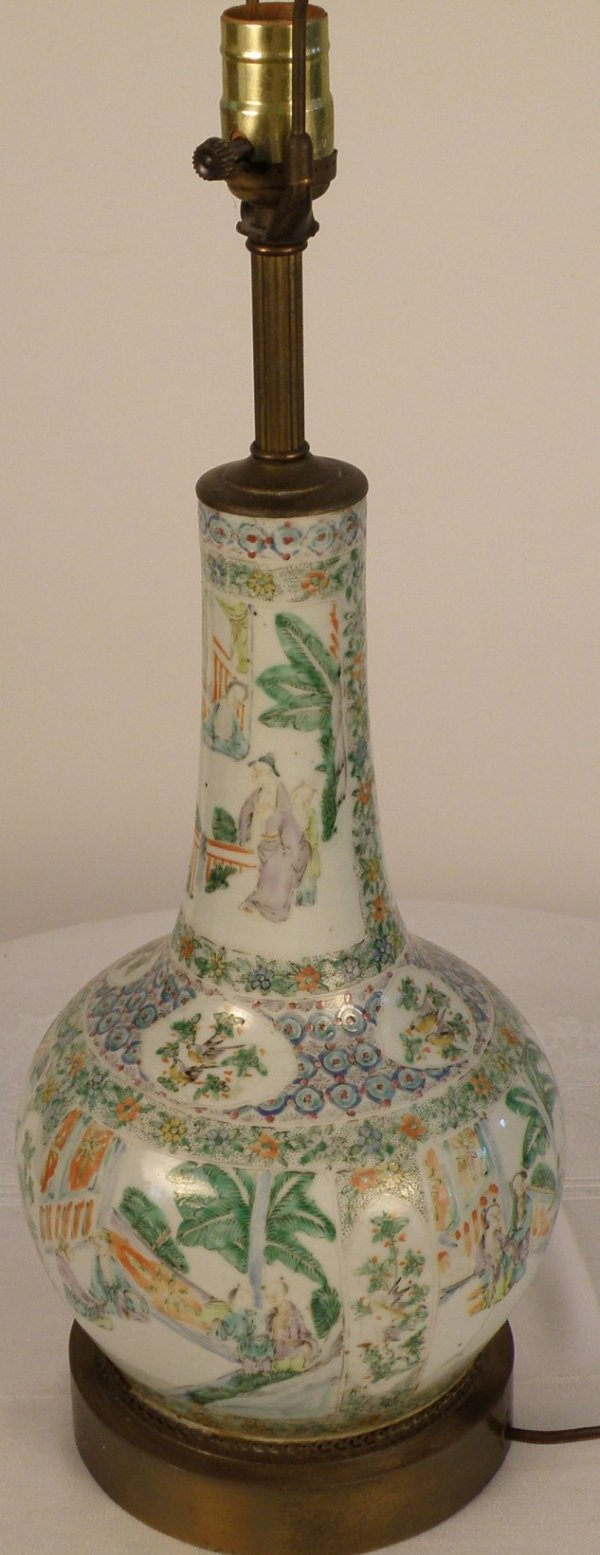 10: A Chinese finely painted famille-verte bottle vase
