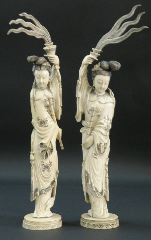 14: A Chinese pair of ivory ladies