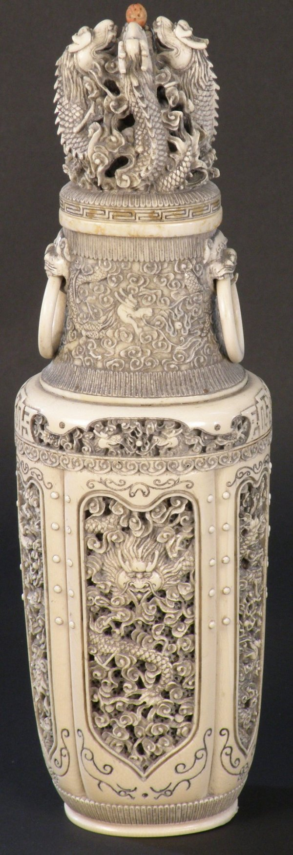 16: A Chinese ivory vase and cover