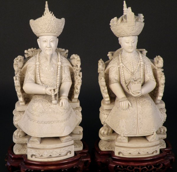 18: A Chinese ivory figure of emperor and empress