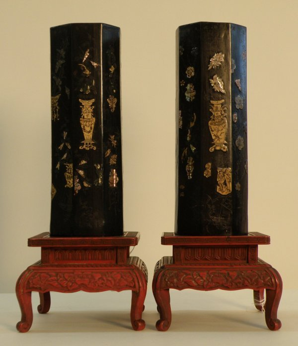 20: Chinese pair of octagonal black lacquer hat holder