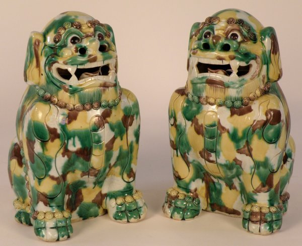 21: A pair of Chinese porcelain Fu Lions