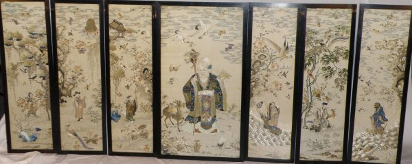 23: A Chinese set of important embroidered panels