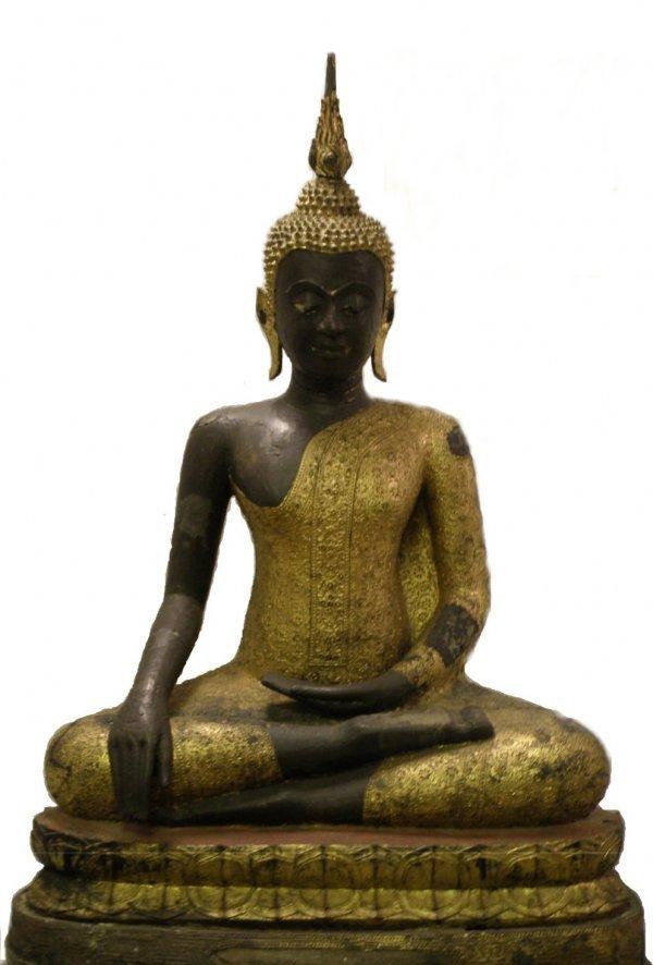 118A: An important Thai gilt bronze seated buddha