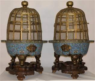 168: A  Chinese pair of magnificent cloisonné birdcage