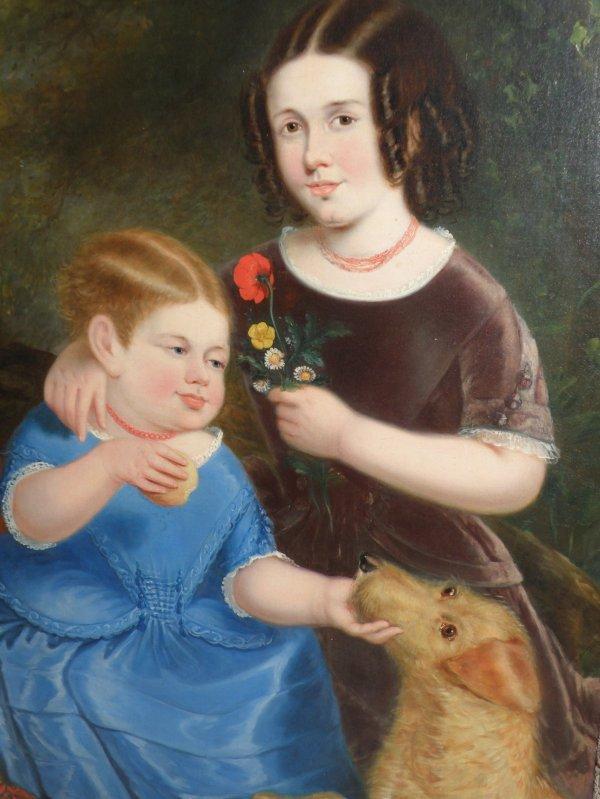 268: 19thc American portrait of two children