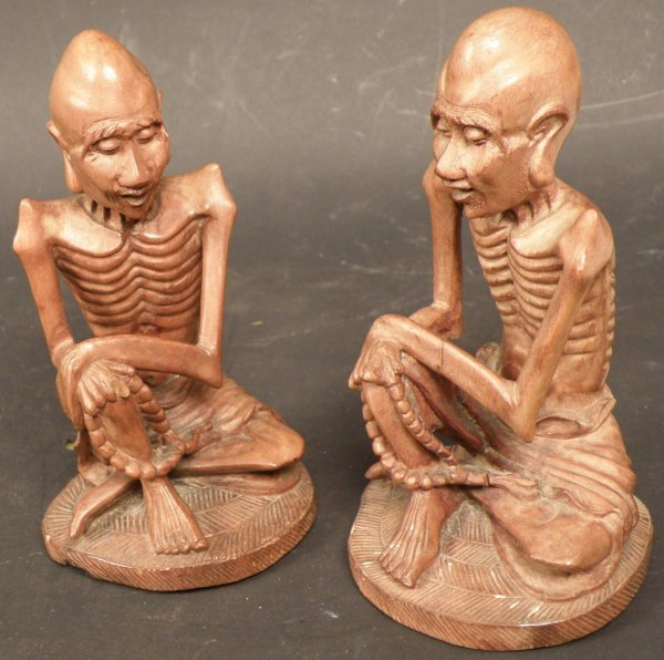 2: Pair of Chinese Wood Carving of Bodhidharma
