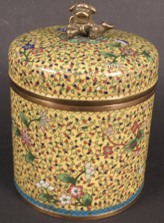 4: Cylindrical Chinese Cloisonne Cover Jar