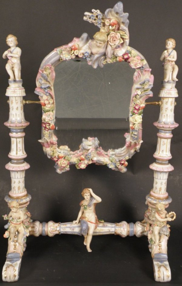 5: Porcelain Table Mirror decorated with figures,