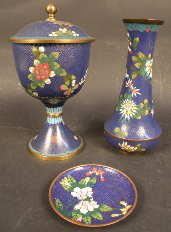 10: 3 pcs. of Chinese Cloisonne Vase , Plate and Cup