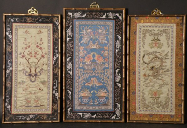 11: 3 pcs. Chinese Embrodery Panels with Frame