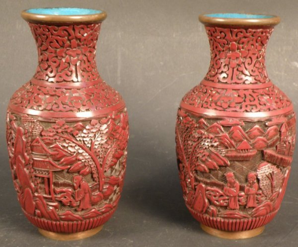 13: 2 pieces of Chinese Cinnabar lacquer vase