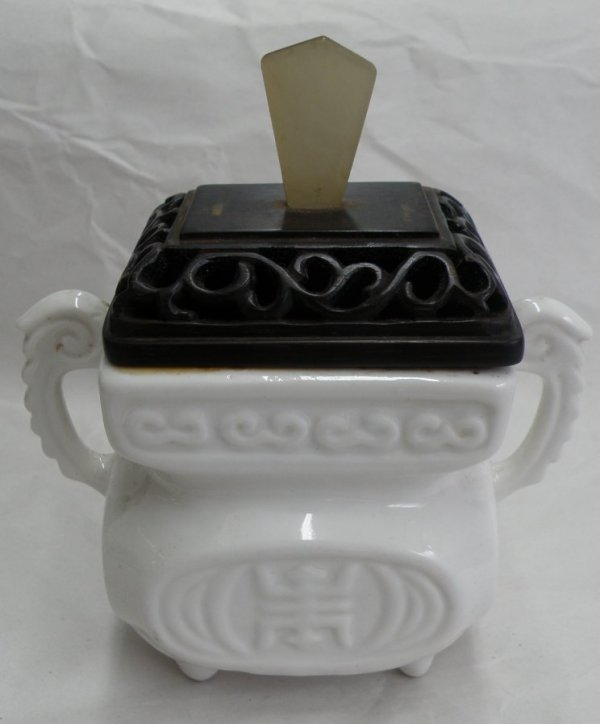 7A: A Chinese White Porcelain Censer with carved wood