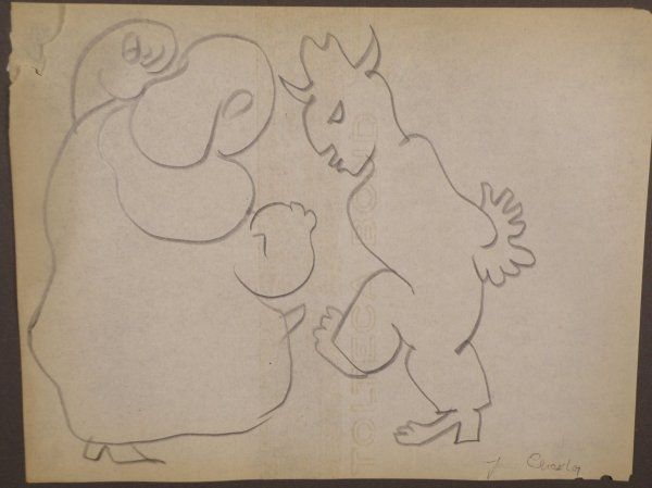 "254: Jean Charlot (France/USA, 1898-1979) ""Two dancing"