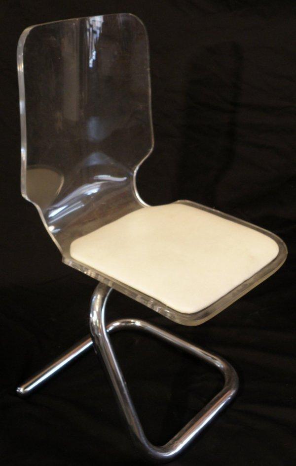 2: Single 20th C Lucite Chair with Asymmetrical Chrome