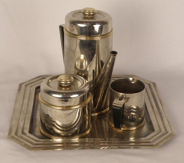 15: 3 piece 1950's silverplate tea set with tray