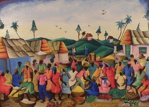 """22: Lovis (Haiti 20th C) """"Market Day"""", o/c, 29 1/2"""" x 2"""