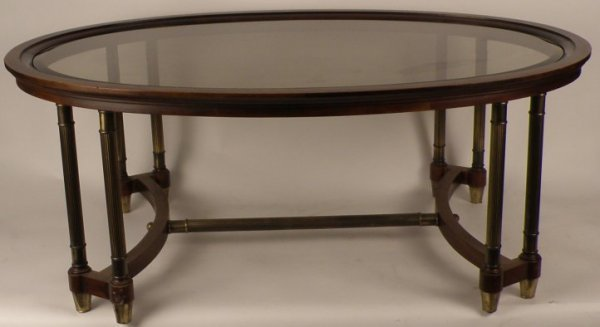 23: 20th C Coffee Table, wood frame and glass insert,